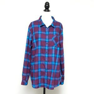 NWOT Eddie Bauer Purple Plaid Button Down XL